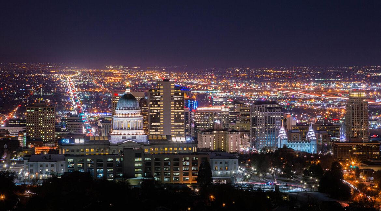 Salt lake city night skyline